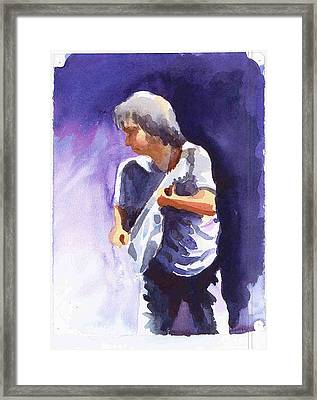 Neil Young With Gretsch White Falcon Framed Print by Ken Daugherty