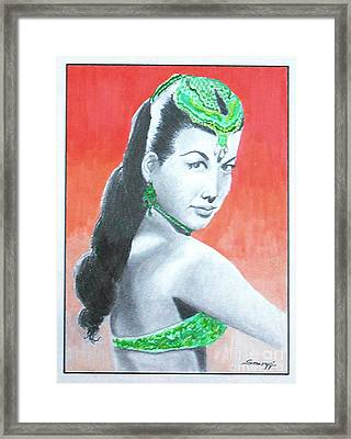 Nejla -- Retro Portrait Of Turkish Celebrity Framed Print by Jayne Somogy