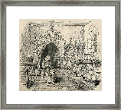Nell Trents Grandfather At Her Grave Framed Print by Vintage Design Pics