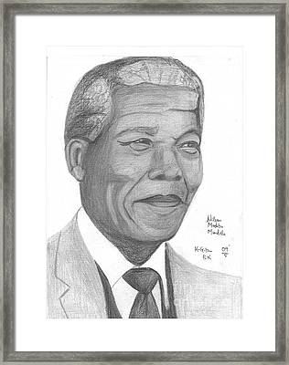 Nelson Mandela Framed Print by Chris Gitau