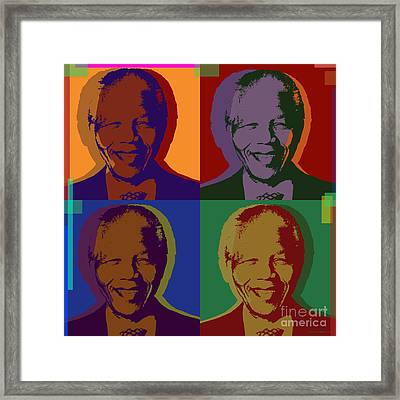 Nelson Mandela Pop Art Framed Print