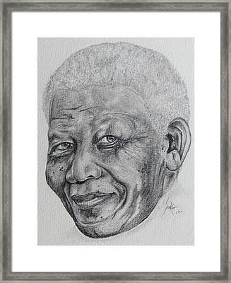 Nelson Mandela Framed Print by Stephen Sookoo