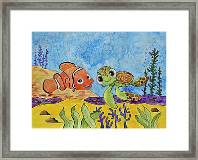 Nemo And Squirt Framed Print