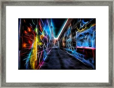 Framed Print featuring the photograph Neon Aleey by Michaela Preston