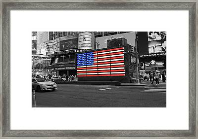 Neon American Flag # 2 - Selective Color Framed Print