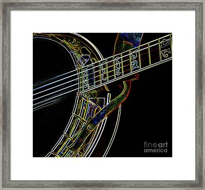 Framed Print featuring the photograph Neon Banjo  by Wilma Birdwell
