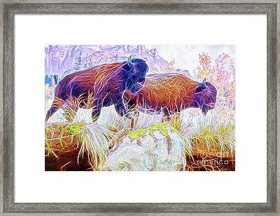 Framed Print featuring the digital art Neon Bison Pair by Ray Shiu