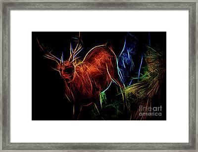 Framed Print featuring the digital art Neon Buck by Ray Shiu