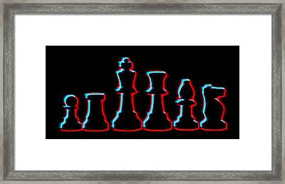 Neon Chess Pieces Framed Print