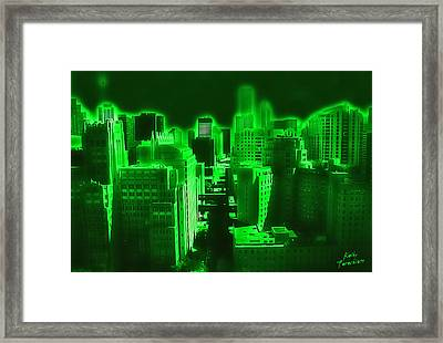 Neon Chicago Framed Print by Kathy Tarochione