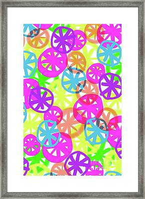 Neon Circles Framed Print by Louisa Knight