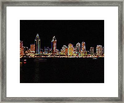Neon City Framed Print by Evelyn Patrick