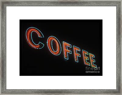 Framed Print featuring the photograph Neon Coffee by Jim and Emily Bush