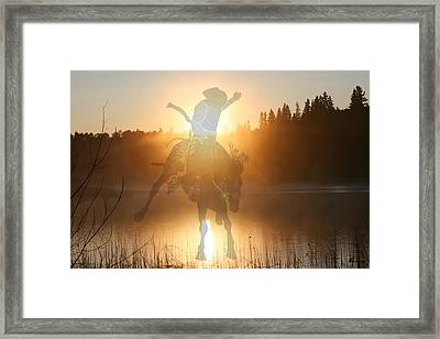 Neon Cowboy Framed Print by Andrea Lawrence