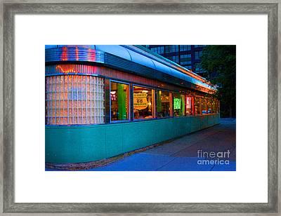 Neon Diner Framed Print