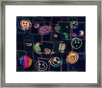 Neon Emoticon Cubism Framed Print by Dan Sproul