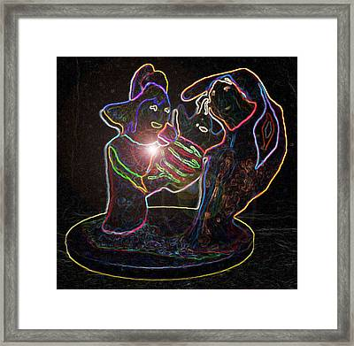 Neon Eyes Of The Future Framed Print by Steve  Minton