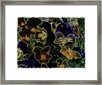 Neon Flowers Framed Print