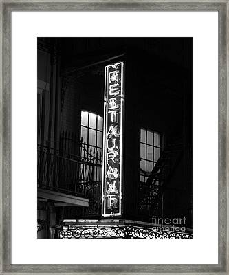 Neon French Quarter Bw Framed Print by Joseph Baril