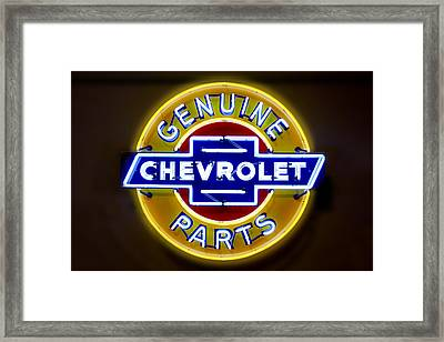 Neon Genuine Chevrolet Parts Sign Framed Print by Mike McGlothlen