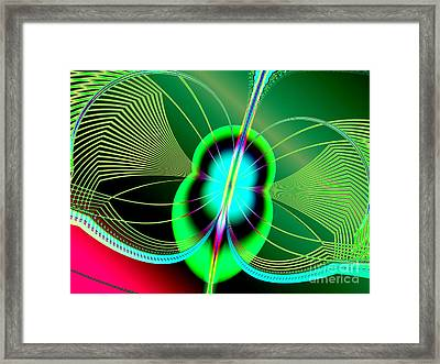 Neon Green And Blue Firefly Fractal 69  Framed Print by Rose Santuci-Sofranko