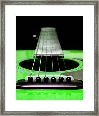 Neon Green Guitar 18 Framed Print by Andee Design