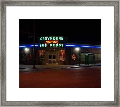 Framed Print featuring the photograph Neon Greyhound Bus Depot Sign by Chris Flees