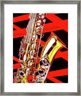 Neon Jazz Sax Framed Print