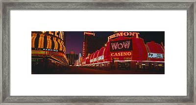 Neon Lights At Las Vegas, Nevada Framed Print