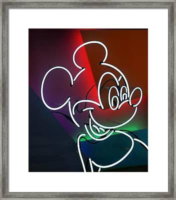 Neon Mickey Framed Print