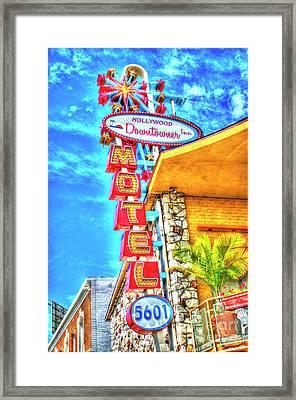 Neon Motel Sign Framed Print