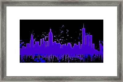 Neon New York City Skyline Framed Print