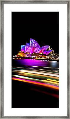 Neon Nights Panorama Framed Print by Az Jackson