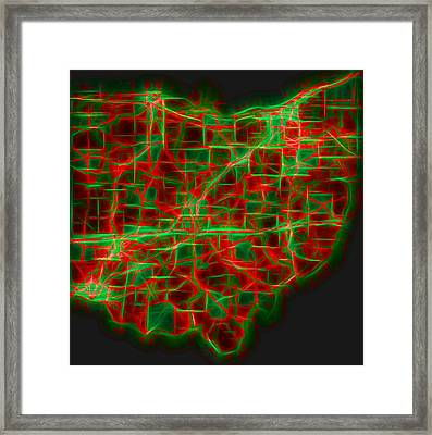 Neon Ohio Map Framed Print by Dan Sproul