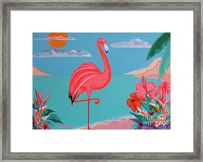 Neon Island Flamingo Framed Print