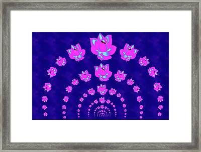 Neon Pink Lotus Arch Framed Print