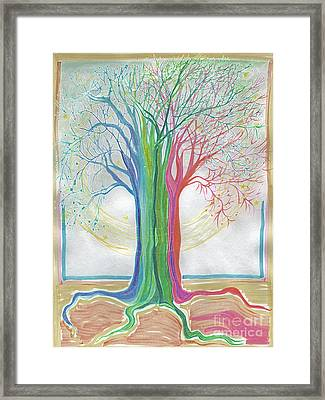 Neon Rainbow Tree By Jrr Framed Print by First Star Art