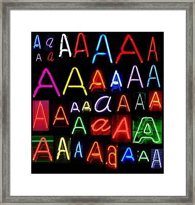 Neon Series Letter A Framed Print by Michael Ledray