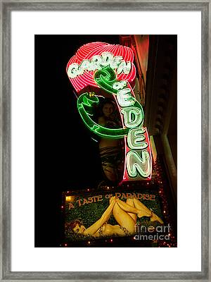 Framed Print featuring the photograph Neon Sign At Night In North Beach San Francisco 1 by Jason Rosette