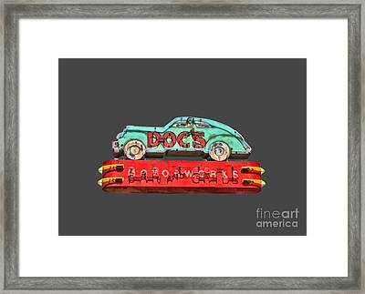 Neon Sign Docs Austin Texas Tee Framed Print by Edward Fielding