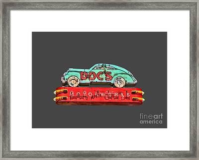 Neon Sign Docs Austin Texas Tee Framed Print
