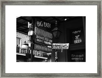 Neon Sign On Bourbon Street Corner French Quarter New Orleans Black And White Framed Print by Shawn O'Brien