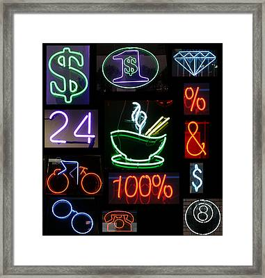 Neon Sign Series Of Various Symbols Framed Print by Michael Ledray