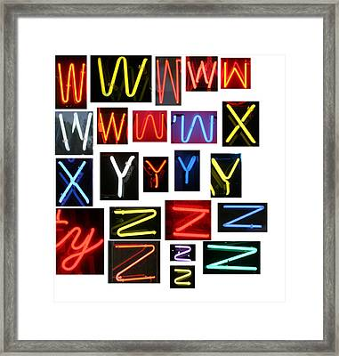 Neon Sign Series W Through Z Framed Print by Michael Ledray