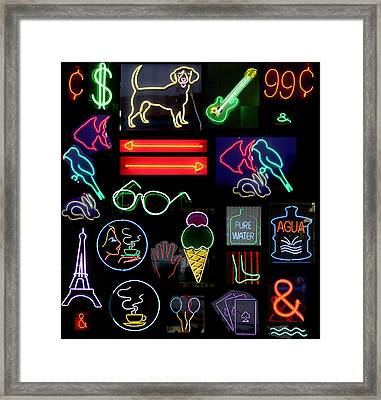 Neon Sign Series With Symbols Of Various Shapes And Colors Framed Print