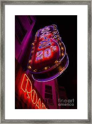 Framed Print featuring the photograph Neon Signs At Night In North Beach Low Angle Ve by Jason Rosette
