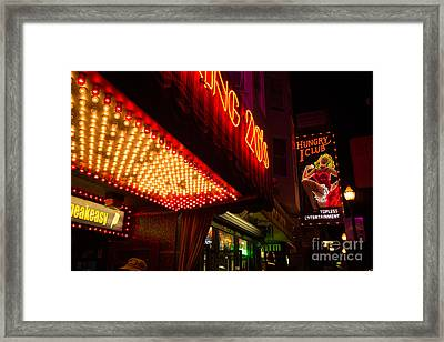 Framed Print featuring the photograph Neon Signs At Night In North Beach San Francisco With Light Bulb Awning by Jason Rosette