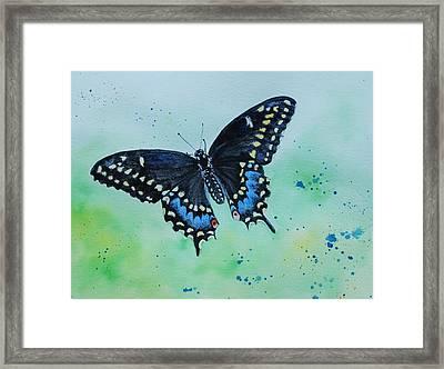 Neon Swallowtail Framed Print
