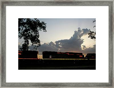 Neon Train Framed Print
