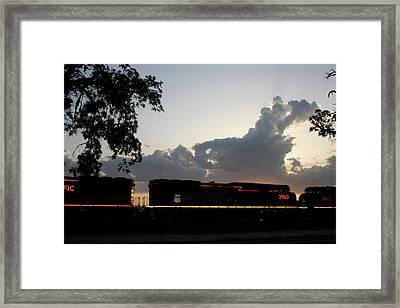 Neon Train Framed Print